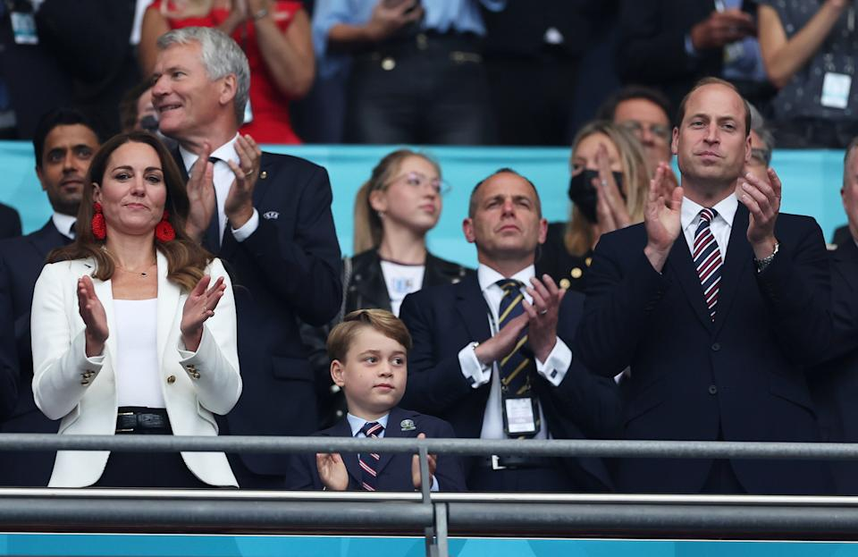 Kate Middleton with Prince William and Prince George at the Euro 2020 final