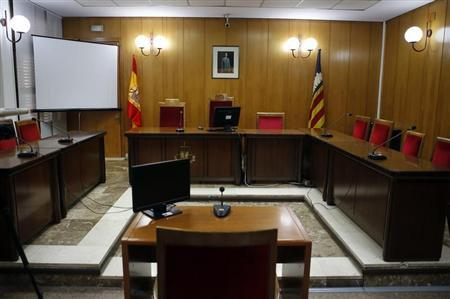 An overall view of the courtroom in the Palma de Mallorca courhouse is seen one day before Princess Cristina is due to appear to testify