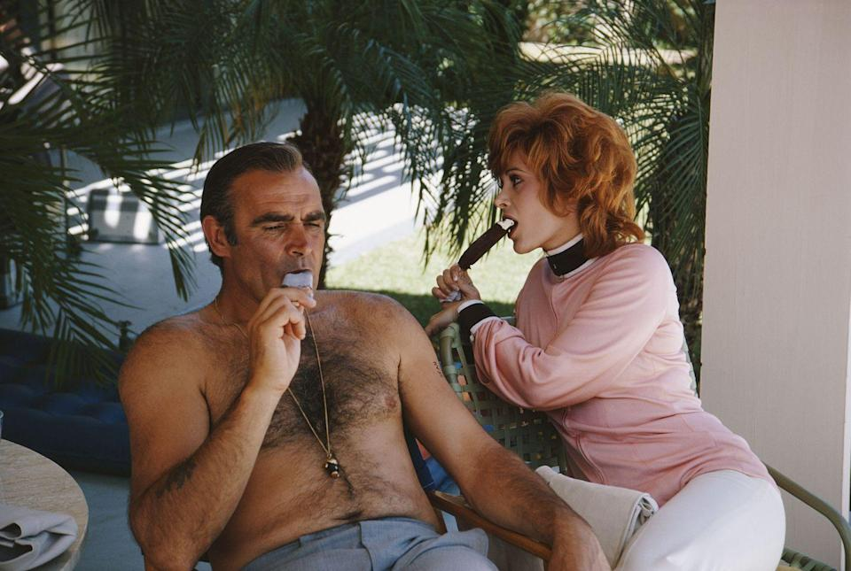 <p>Sean Connery and actress Jill St. John relax on the set of the Diamonds Are Forever.</p>