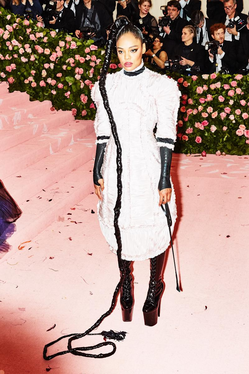 Tessa Thompson on the red carpet at the Met Gala in New York City on Monday, May 6th, 2019. Photograph by Amy Lombard for W Magazine.
