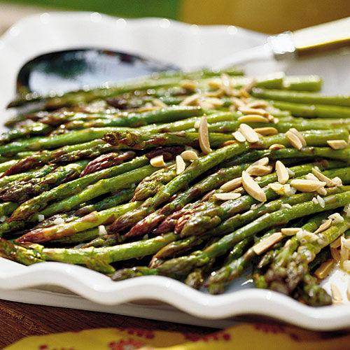 """<p><b>Recipe: <a rel=""""nofollow"""" href=""""http://www.myrecipes.com/recipe/oven-roasted-asparagus"""">Oven-Roasted Asparagus</a></b></p> <p>This delicious <a rel=""""nofollow"""" href=""""http://www.southernliving.com/side-dishes"""">veggie side dish</a> has a short ingredient list and only takes 10 minutes in the oven.</p>"""
