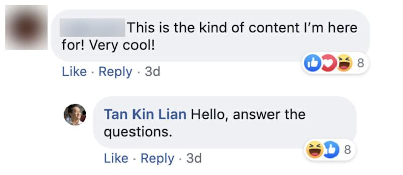 Screenshot of comment on Tan Kin Lian's Facebook page.