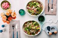 """Use this recipe and you'll have a nourishing meal in 20 minutes. Starting with a <a href=""""https://www.epicurious.com/ingredients/best-recipes-using-rotisserie-chicken-gallery?mbid=synd_yahoo_rss"""" rel=""""nofollow noopener"""" target=""""_blank"""" data-ylk=""""slk:store-bought rotisserie chicken"""" class=""""link rapid-noclick-resp"""">store-bought rotisserie chicken</a> is the time-saving secret. Shred it and combine it with quinoa, vegetables, and (of course) avocados. <a href=""""https://www.epicurious.com/recipes/food/views/grain-bowls-with-chicken-spiced-chickpeas-and-avocado?mbid=synd_yahoo_rss"""" rel=""""nofollow noopener"""" target=""""_blank"""" data-ylk=""""slk:See recipe."""" class=""""link rapid-noclick-resp"""">See recipe.</a>"""