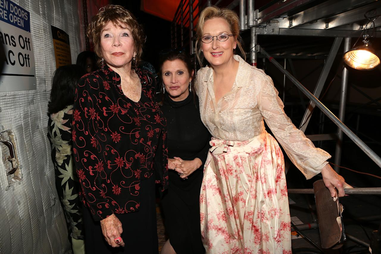CULVER CITY, CA - JUNE 07:  (L-R) Honoree Shirley MacLaine and actresses Carrie Fisher and Meryl Streep attend the 40th AFI Life Achievement Award honoring Shirley MacLaine held at Sony Pictures Studios on June 7, 2012 in Culver City, California. The AFI Life Achievement Award tribute to Shirley MacLaine will premiere on TV Land on Saturday, June 24 at 9PM ET/PST.  (Photo by Christopher Polk/Getty Images for AFI)