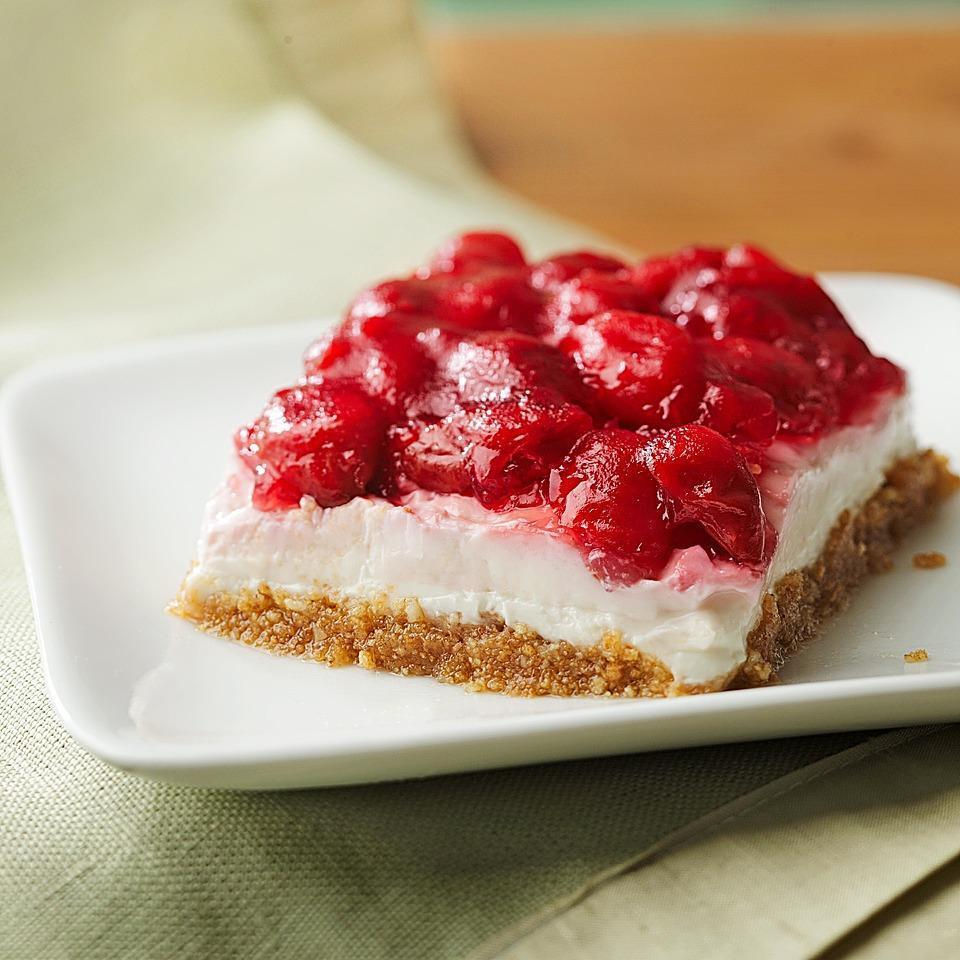 <p>This no-bake cherry cheesecake is an easy summertime treat. This no-bake cheesecake recipe has omega-3-rich walnuts in the graham cracker crust and uses nonfat Greek yogurt and reduced-fat cream cheese in the filling to keep saturated fat in check. If you want a bright red topping, use sour cherries. Sweet cherries give it a more purple hue. To make gluten-free no-bake cherry cheesecake, use gluten-free graham crackers.</p>