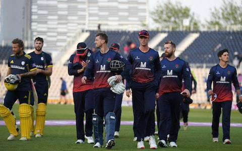 Lancashire walk off dejected after losing to Hampshire - Credit: Getty Images