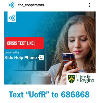 The Co-operators has partnered to provide mental health support to University of Regina students through the Crisis Text Line powered by Kids Help Phone. When students text