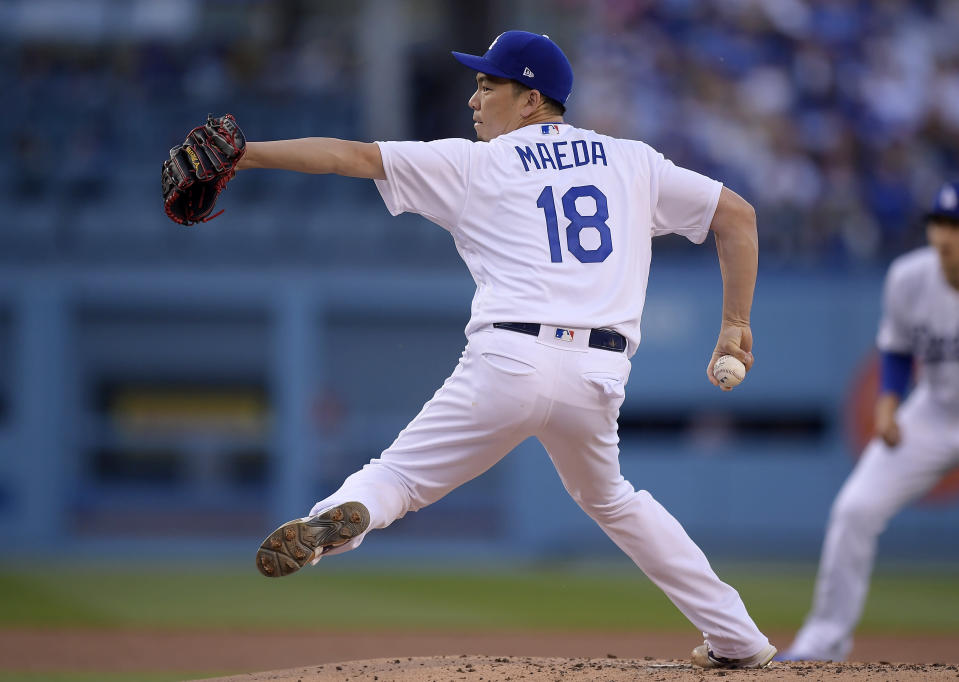 Los Angeles Dodgers starting pitcher Kenta Maeda, of Japan, throws during the second inning of the team's baseball game against the Arizona Diamondbacks on Saturday, March 30, 2019, in Los Angeles. (AP Photo/Mark J. Terrill)