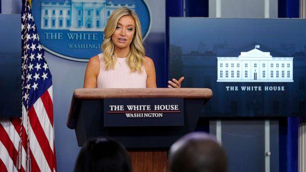 PHOTO: White House press secretary Kayleigh McEnany speaks during a press briefing at the White House, July 13, 2020, in Washington. (Evan Vucci/AP)