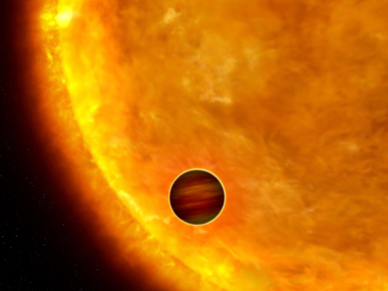 "An artist's impression shows a Jupiter-sized planet passing in front of its parent star. Such events are called transits. When the planet transits the star, the star's apparent brightness drops by a few percent for a short period. Through this technique, astronomers can use the Hubble Space Telescope to search for planets across the galaxy by measuring periodic changes in a star's luminosity. The first class of exoplanets found by this technique are the so-called ""hot Jupiters,"" which are so close to their stars they complete an orbit within days, or even hours.  REUTERS/NASA/ESA/G. Bacon/Handout"