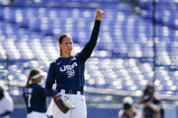 United States pitcher Cat Osterman reacts after a strikeout during a softball game against Mexico at the 2020 Summer Olympics, Saturday, July 24, 2021, in Yokohama, Japan. (AP Photo/Matt Slocum)