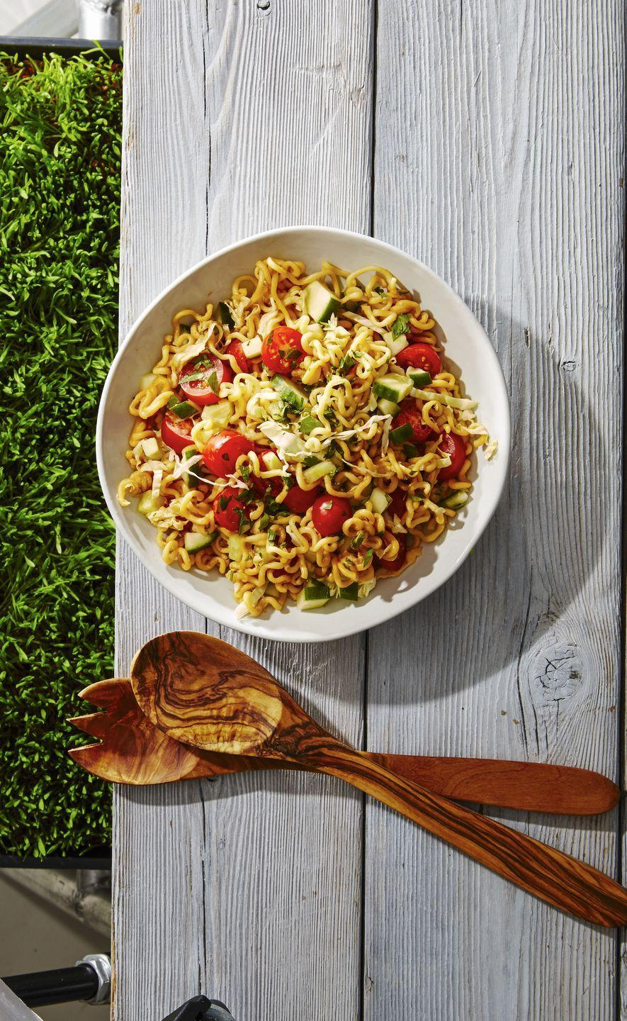 """<p>Your college staple has received a major (read: healthy) upgrade thanks to fresh cucumbers, tomatoes, and cabbage.</p><p><em><a href=""""https://www.goodhousekeeping.com/food-recipes/a39330/honey-lime-ramen-salad-recipe/"""" rel=""""nofollow noopener"""" target=""""_blank"""" data-ylk=""""slk:Get the recipe for Honey-Lime Ramen Salad »"""" class=""""link rapid-noclick-resp"""">Get the recipe for Honey-Lime Ramen Salad »</a></em></p>"""