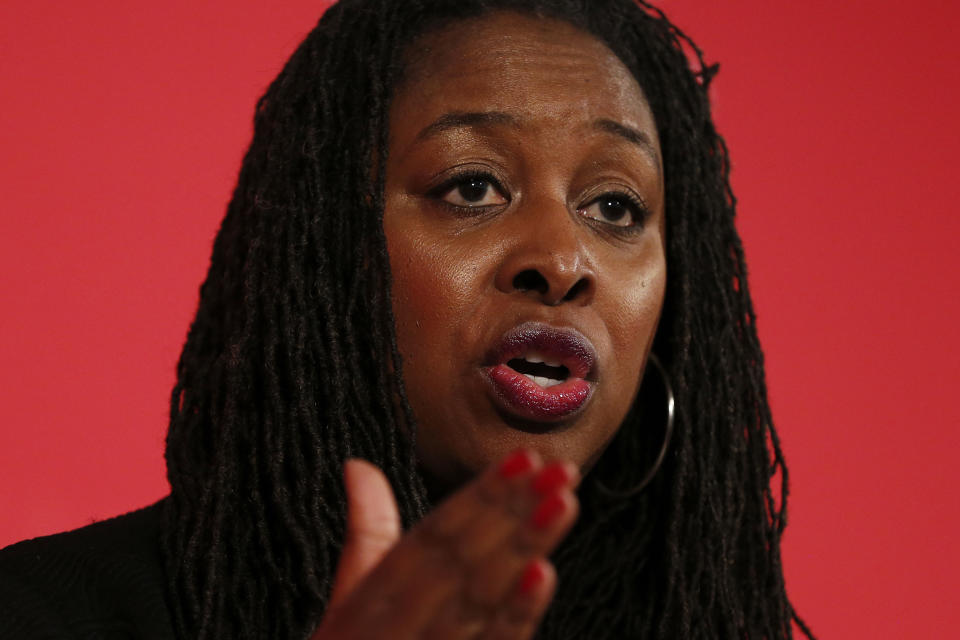 LONDON, ENGLAND - FEBRUARY 16: Dawn Butler speaks at a hustings event for Labour Deputy Leader, hosted by the Co-operative Party, at the Business Design Centre on February 16, 2020 in London, England. Richard Burgon, Dawn Butler, Ian Murray, Dr Rosena Allin-Khan and Angela Rayner are vying to become Labours deputy leader following the departure of Tom Watson, who stood down in December last year. (Photo by Hollie Adams/Getty Images)