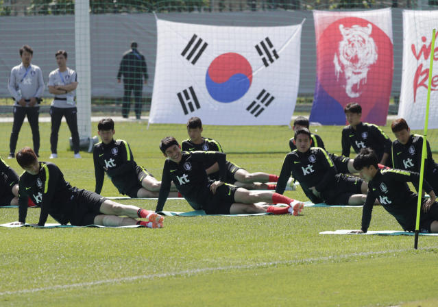 South Korea's national soccer team players stretch during a training session of South Korea at the 2018 soccer World Cup at the Spartak Stadium in Lomonosov near St. Petersburg, Russia, Saturday, June 16, 2018. (AP Photo/Lee Jin-man)
