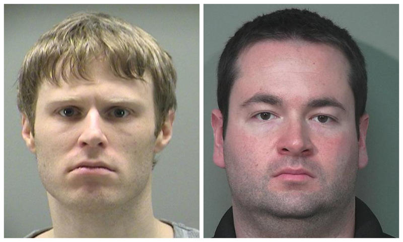 This combination made with police photos shows Patrick Rieder, 31, of Dayton, Ohio, left, and Jason Zwick, 29, of Beavercreek, Ohio. Law enforcement officials are widening the investigation into child sexual exploitation allegations against the two men and an adoptive father, authorities said Thursday, March 1, 2012.  The adoptive father has been charged with raping three boys in his care and compelling prostitution by hiring the 10-year-old out for sex. The three men remained in jail Thursday on rape charges. (AP Photo/Police Photos via The Daily News)