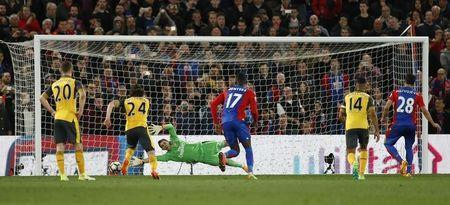 Britain Football Soccer - Crystal Palace v Arsenal - Premier League - Selhurst Park - 10/4/17 Crystal Palace's Luka Milivojevic scores their third goal from the penalty spot Reuters / Stefan Wermuth Livepic
