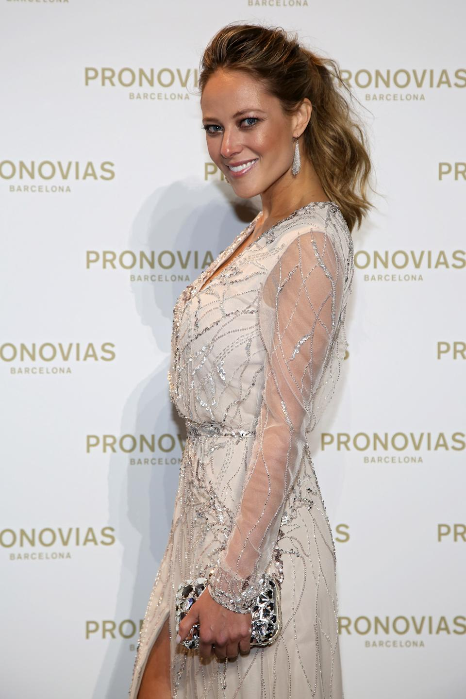 BARCELONA, SPAIN - APRIL 29:  Vanessa Huppenkothen poses during Pronovias bridal collection during the 'Barcelona Bridal Fashion Week 2016' at Italian Pavilion of Fira Barcelona on April 29, 2016 in Barcelona.  (Photo by Europa Press/Europa Press via Getty Images)