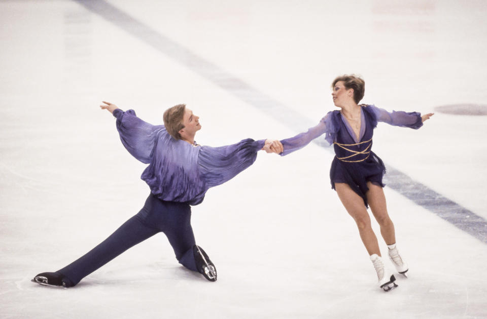 """<p>At the 1984 Winter Games in Sarajevo, British duo Jayne Torvill and Christopher Dean elevated the staid sport of ice dancing to new heights, earning perfect scores from the judges and winning a gold medal for their perfect execution of an enthralling routine set to Ravel's """"Bolero."""" (Getty) </p>"""