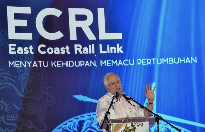 Najib said the public have a right to know all the reasons why the projects were cancelled on the Malaysian government's insistence. — Bernama pic