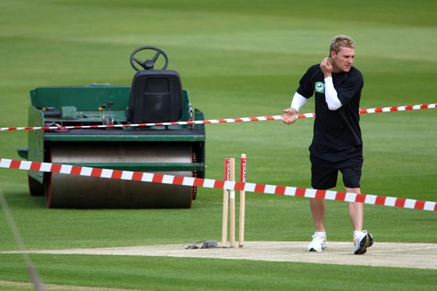 NOTTINGHAM, UNITED KINGDOM - JUNE 04:  Brendon McCullum of New Zealand looks at the wicket during the New Zealand nets sesion at Trent Bridge on June 4, 2008 in Nottingham, England.  (Photo by Tom Shaw/Getty Images)