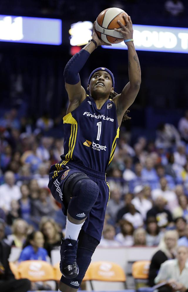 Indiana Fever guard Shavonte Zellous drives to the basket during the first half in Game 1 of the WNBA basketball Eastern Conference semifinal series against the Chicago Sky on Friday, Sept. 20, 2013, in Rosemont, Ill. (AP Photo/Nam Y. Huh)