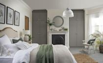 """<p>Storage is so important in the bedroom and if you have alcoves like this, it's the perfect place for wardrobes. These are fitted but if you have inherited some, why not paint them grey? It will add depth to your colour scheme. Then pick up the colour in the carpet. This also shows how well grey goes with sage green – a hot colour trend this year.</p><p>'In the bedroom grey is a particularly versatile shade – something that is especially important if you are investing in larger pieces of bedroom furniture like a bed frame or fitted furniture,' says Megan Baker, Head of Design at <a href=""""https://www.myfittedbedroom.com/"""" rel=""""nofollow noopener"""" target=""""_blank"""" data-ylk=""""slk:My Fitted Bedroom"""" class=""""link rapid-noclick-resp"""">My Fitted Bedroom</a>. 'From soft dove to charcoal to granite, grey provides a warming and more modern alternative to white or wood effect furniture.'</p><p>Pictured: <a href=""""https://www.myfittedbedroom.com/sophia-pewter"""" rel=""""nofollow noopener"""" target=""""_blank"""" data-ylk=""""slk:Sophia fitted wardrobes in Pewter, My Fitted Bedroom"""" class=""""link rapid-noclick-resp"""">Sophia fitted wardrobes in Pewter, My Fitted Bedroom</a></p>"""