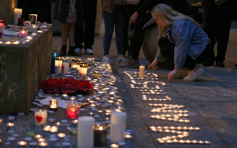 Tributes to the victims of the attack in St Ann's Square, Manchester, on May 29, 2017 - Nigel Roddis/EPA