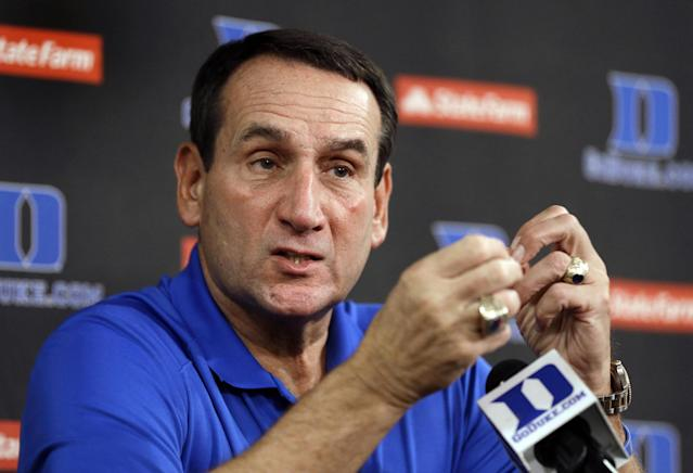 Duke coach Mike Krzyzewski responds to a question during the NCAA college basketball team's media day in Durham, N.C., Friday, Sept. 27, 2013. (AP Photo/Gerry Broome)