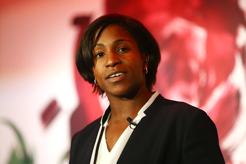 LONDON, ENGLAND - OCTOBER 05: Former England International and RFU Council member Maggie Alphonsi talks during the RFU Women's Rugby Unveiling at Twickenham Stadium on October 5, 2016 in London, England. (Photo by Jordan Mansfield - RFU/The RFU Collection via Getty Imagesges)