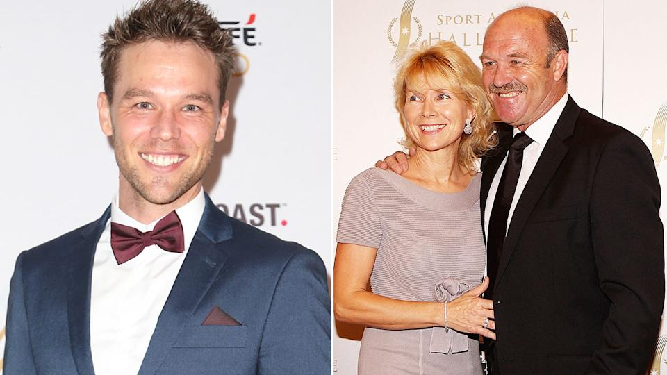 Seen here, actor Lincoln Lewis alongside a photo of his parents, Wally and Jacqui.