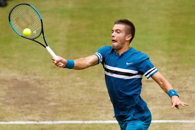 Tennis - ATP - Halle Open Finals - Gerry Weber Stadion, Halle, Germany - June 24, 2018 Croatia's Borna Coric in action during the final against Switzerland's Roger Federer REUTERS/Leon Kuegeler