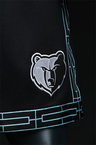 2abc0bc1ba8 A detail view of the accents on the shorts of the Memphis Grizzlies  new  MLK50