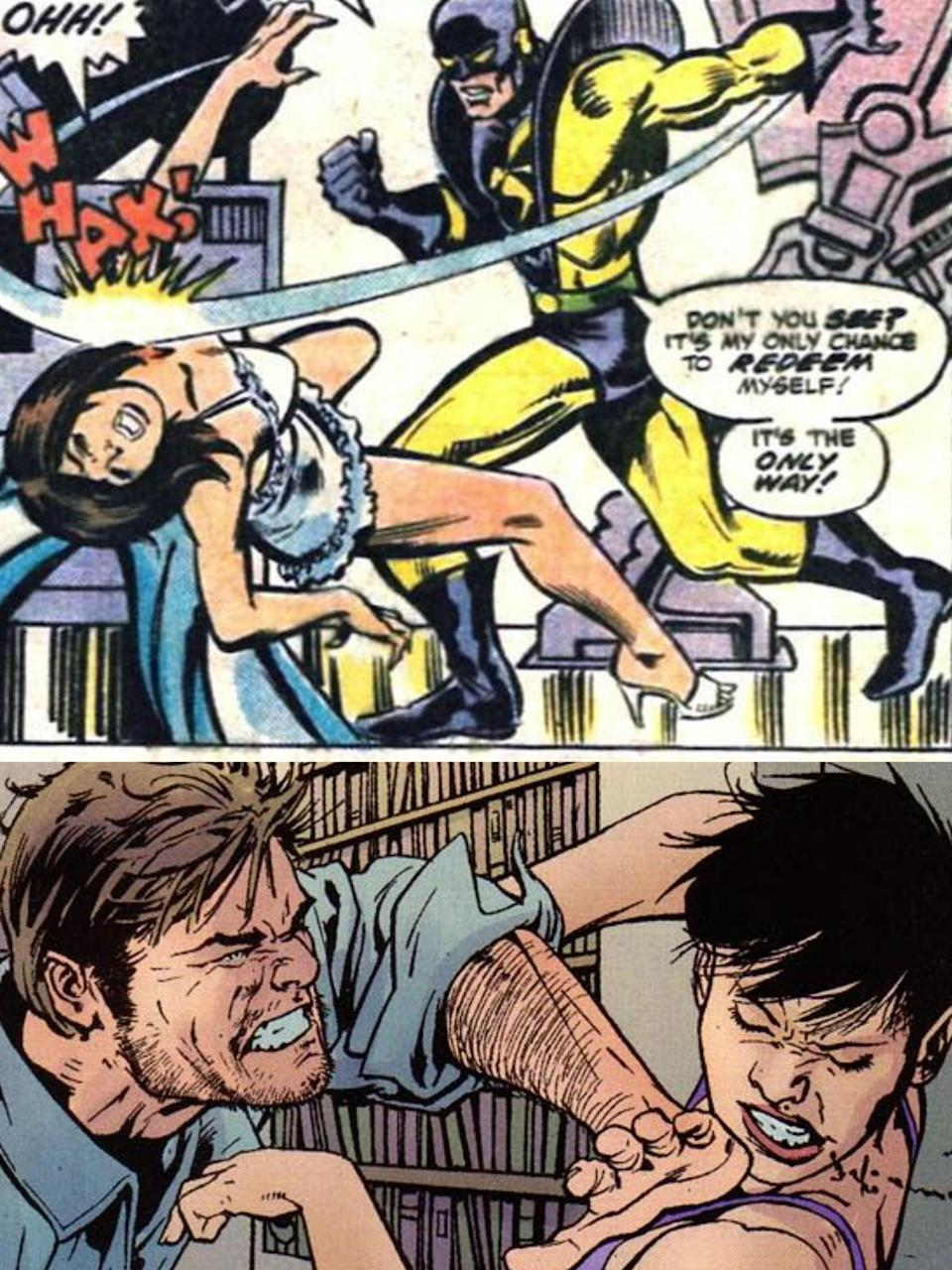Hank Pym has been depicted as abusive to wife Janet in the Marvel comic books