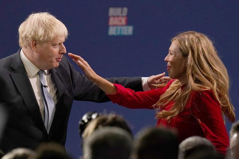Mr Johnson was joined by his wife Carrie on stage after delivering his keynote speech at the Conservative Party Conference last week (PA) (PA Wire)