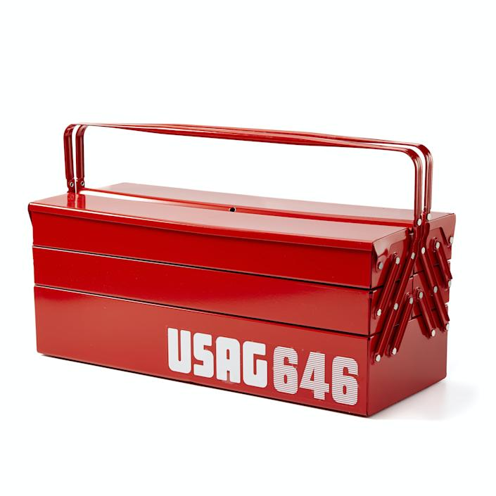 """If he's the handiest guy you know, he'll definitely appreciate this lightweight steel toolbox. Designed in Italy with three expandable tiers, each different-sized compartment ensures that everything from hammers to screws stays organized. $75, Huckberry. <a href=""""https://huckberry.com/store/usag/category/p/59644-the-workman-s-toolbox"""" rel=""""nofollow noopener"""" target=""""_blank"""" data-ylk=""""slk:Get it now!"""" class=""""link rapid-noclick-resp"""">Get it now!</a>"""