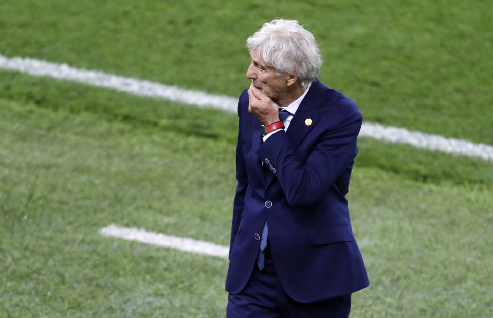 <p>Food for thought: Colombia head coach Jose Pekerman leaves the field at halftime with plenty on his mind </p>