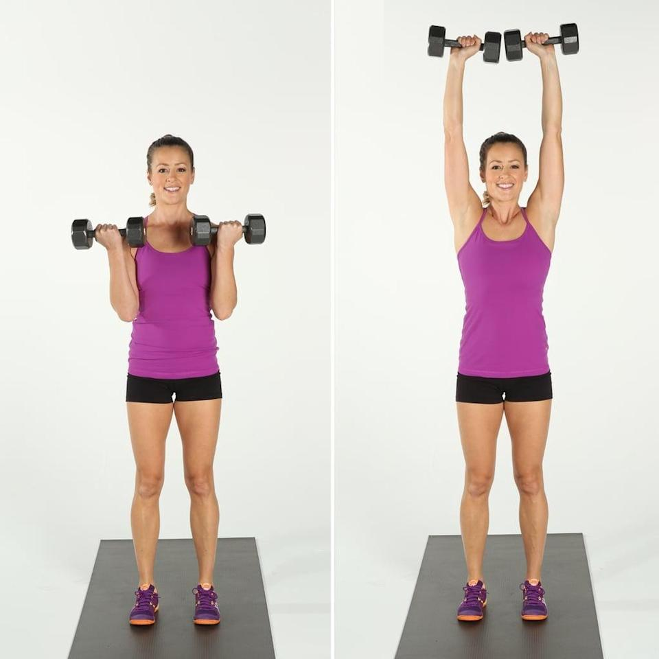 """<p>By combining two traditional upper-body exercises, you can hit multiple muscle groups at once and get more bang for your buck, said personal trainer <a href=""""https://www.befreetomove.ca/"""" class=""""link rapid-noclick-resp"""" rel=""""nofollow noopener"""" target=""""_blank"""" data-ylk=""""slk:Ali MacKellar"""">Ali MacKellar</a>, who has DTS Level 1 and Strive Life Level 1 certifications. """"The bicep curl focuses on your biceps, delts, and forearms, while the overhead press focuses on your delts, traps, and triceps,"""" MacKellar explained. This move is a great choice for anyone, they added, as these are functional movements we all do in our daily lives.</p> <ul> <li>Start standing with your feet shoulder-width apart, holding a dumbbell in each hand with a neutral grip (your palms should be facing in toward your thighs) and your arms extended. This is your starting position.</li> <li>Inhale and bend your elbows, and curl the dumbbells in toward your chest, keeping your elbows in close contact with the sides of your body.</li> <li>On an exhale, extend your elbows as you press the dumbbells above your head, ensuring that your arms are in line with your ears on either side of your head.</li> <li>On an inhale, lower the dumbbells back to your shoulders and then extend them so that you are holding the weights back by your side and in the starting position.</li> <li>This counts as one rep.</li> </ul>"""