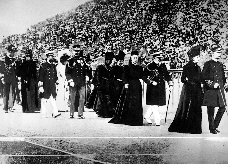 <p>Members of various European royal families parade through the stadium during the 1906 Olympic Games in Athens, Greece. </p>