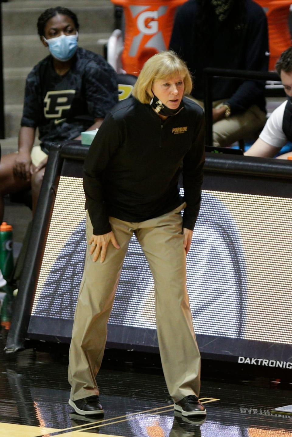 Purdue head coach Sharon Versyp during the first quarter of an NCAA women's basketball game, Thursday, Feb. 11, 2021 at Mackey Arena in West Lafayette.