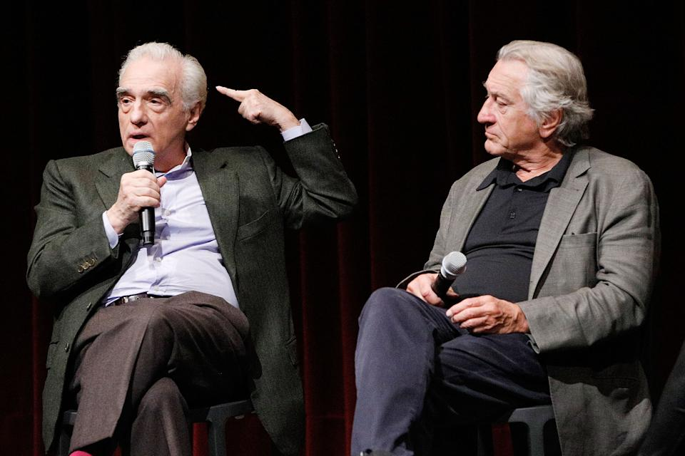 """Martin Scorsese and Robert De Niro on stage for a screening of """"The Irishman"""" on October 6, 2019. (Photo by Lars Niki/Getty Images for The Academy Of Motion Pictures Arts & Sciences)"""