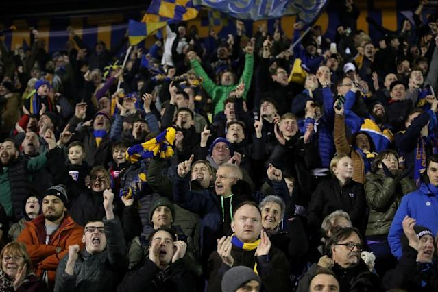 "<span class=""element-image__caption"">Shrewsbury Town fans celebrate their equaliser.</span> <span class=""element-image__credit"">Photograph: Carl Recine/Action Images via Reuters</span>"
