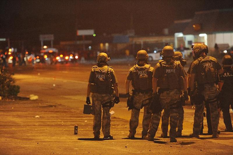Riot police are deployed during a protest in Ferguson, Missouri on August 17, 2014 (AFP Photo/Michael B. Thomas)