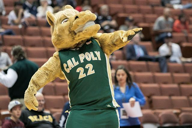 Hopefully the person wearing the mascot costume did not receive an improper book stipend. (Getty Images)