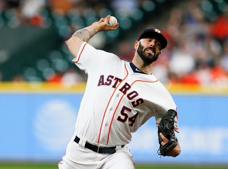 HOUSTON, TX - AUGUST 23: Mike Fiers #54 of the Houston Astros pitches in the first inning against the Washington Nationals at Minute Maid Park on August 23, 2017 in Houston, Texas. (Photo by Bob Levey/Getty Images)