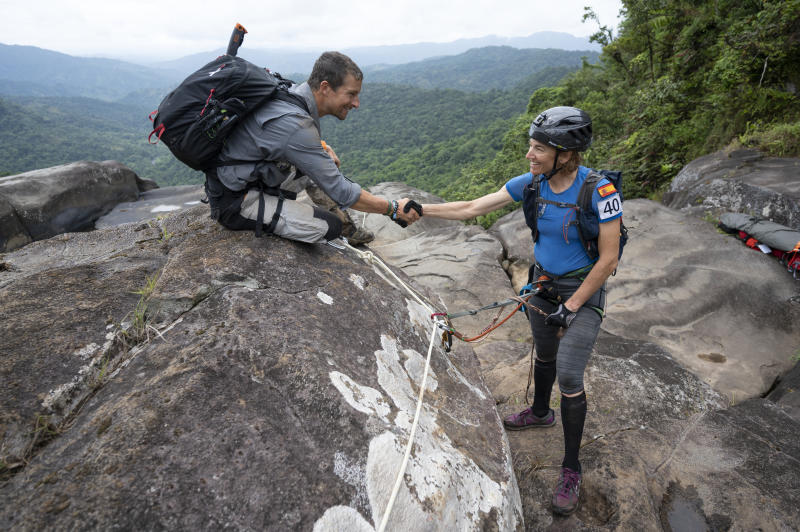 Bear Grylls and Emma Roca of Team Summit during the 2019 Eco-Challenge adventure race in Fiji on Saturday, September 14, 2019. (Corey Rich/Amazon)