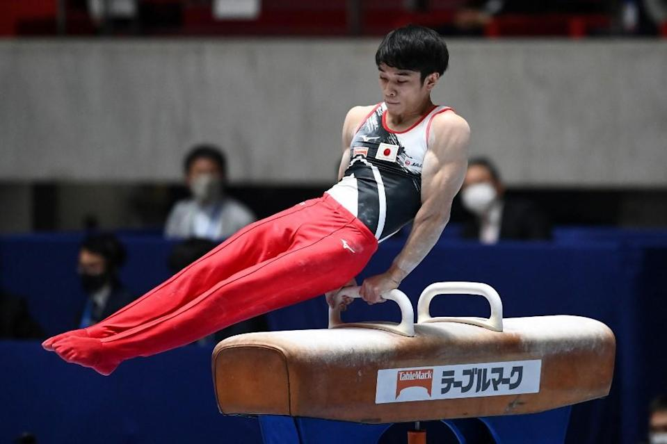 Wataru Tanigawa of Japan competes on the pommel horse during the Friendship and Solidarity Competition gymnastics event in Tokyo on November 8, 2020.