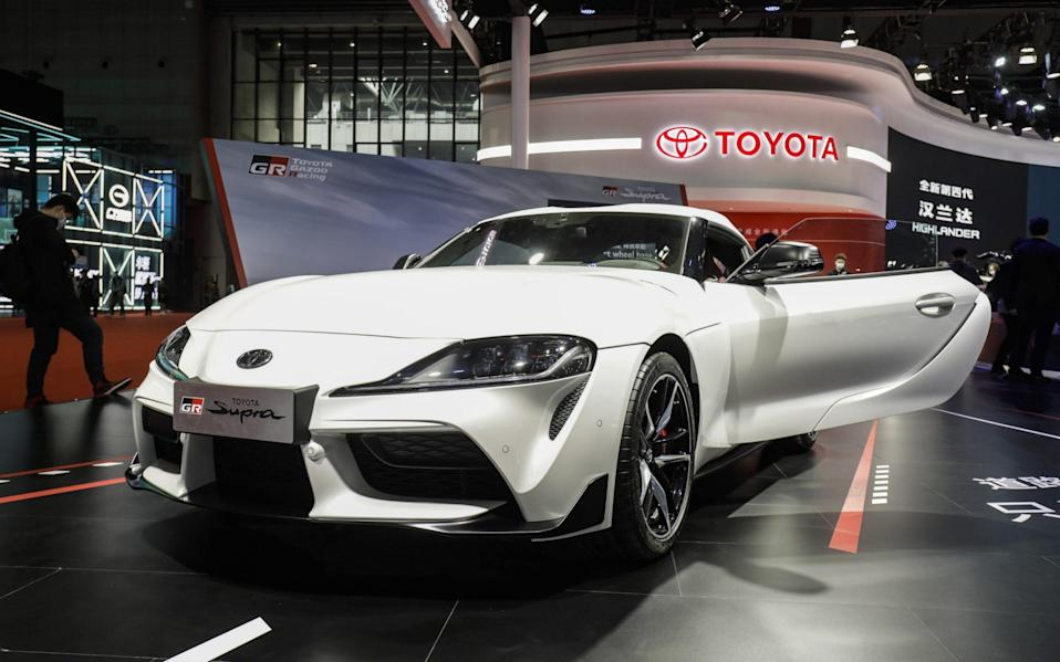 The GR Supra sports vehicle, another electric giant of Toyota's, at the Auto Shanghai 2021 show - Qilai Shen/Bloomberg