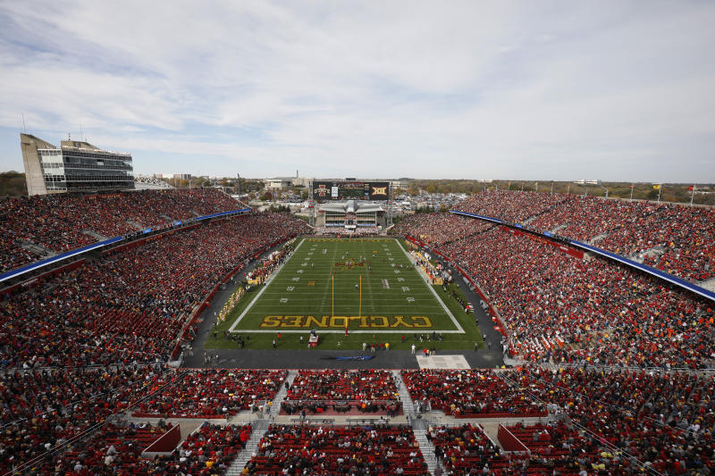 One Iowa State fan was hospitalized after he fell over the upper deck wall into the lower bowl of the stadium on Saturday.