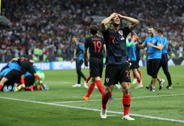 <p>Josip Pivaric celebrates as Croatia go through to their first ever World Cup final </p>