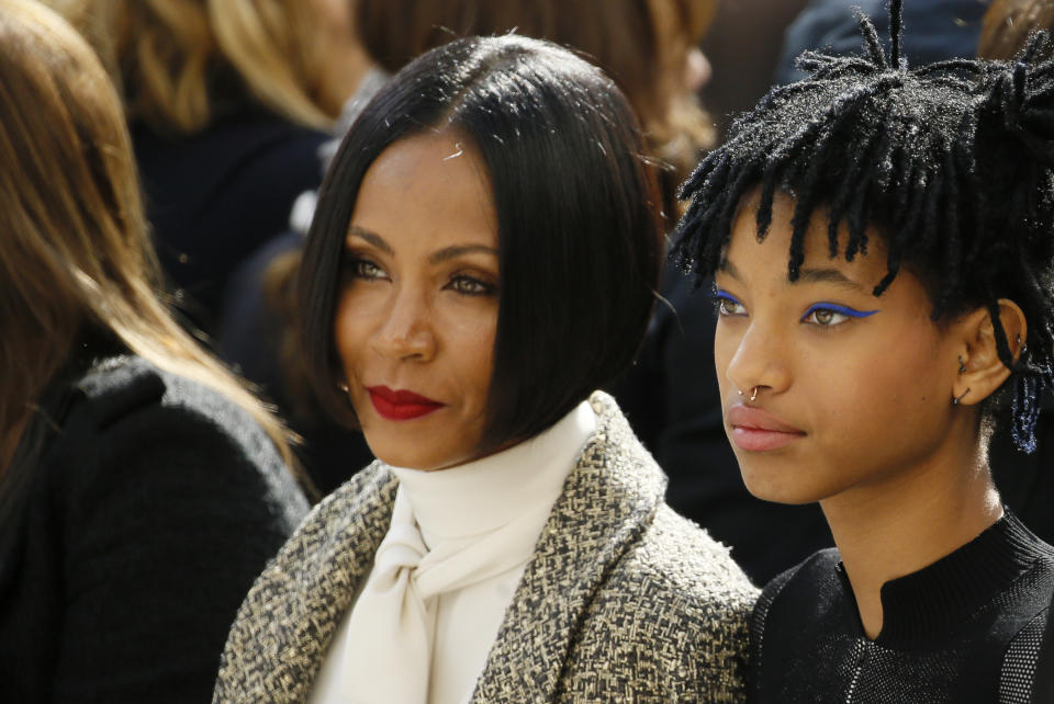 Singer Willow Smith (R) and actress Jada Pinkett Smith attend the Chanel Fall/Winter 2016/2017 women's ready-to-wear collection show in Paris, France, March 8, 2016. REUTERS/Gonzalo Fuentes